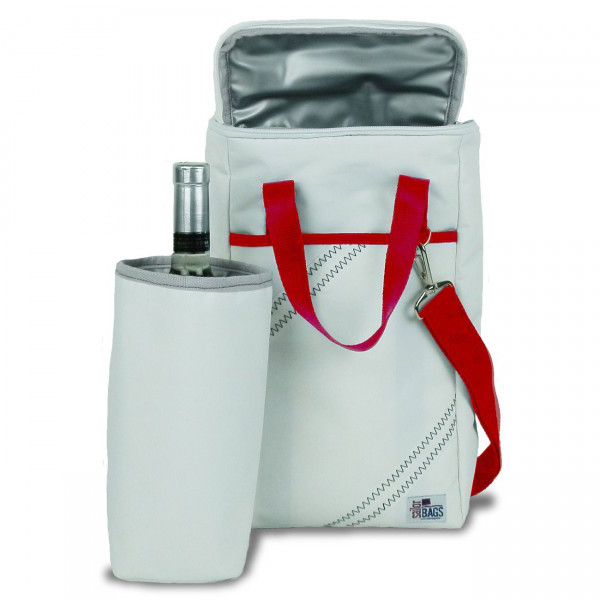 Sailor Bags Newport Insulated Wine Tote with Red Straps (2-Bottle)