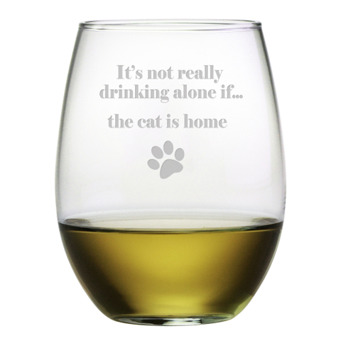 It's Not Really Drinking Alone Cat Stemless Wine Glasses (set of 4)