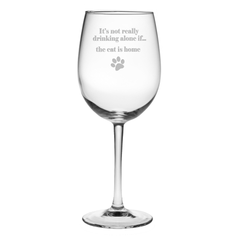 It's Not Really Drinking Alone Cat Stemmed Wine Glasses (set of 4)