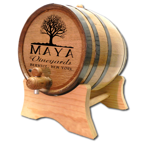 Personalized Oak Tree Wine Barrel