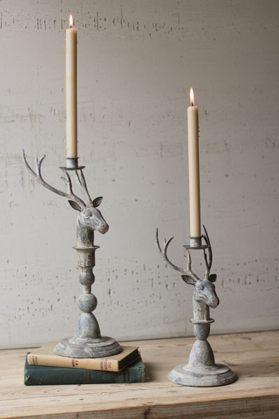 Set of 2 Metal Deer Candle Holders