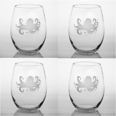 Octopus Stemless Wine Tumbler Glasses  Set of 4