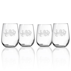 Octopus Stemless Red Wine Glasses (Set of 4)