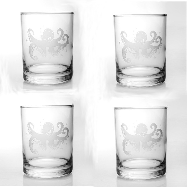 Octopus Double Old Fashioned Glasses (Set of 4)