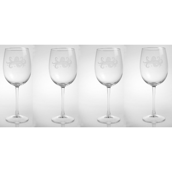 Octopus Large All Purpose Wine Glasses (Set of 4)