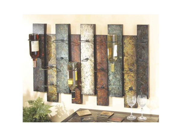 Offset Panel Nine Bottle Wine Rack