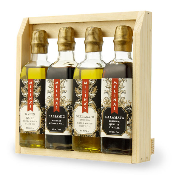 Mediterranean Olive Oil and Vinegar Wooden Gift Box Set