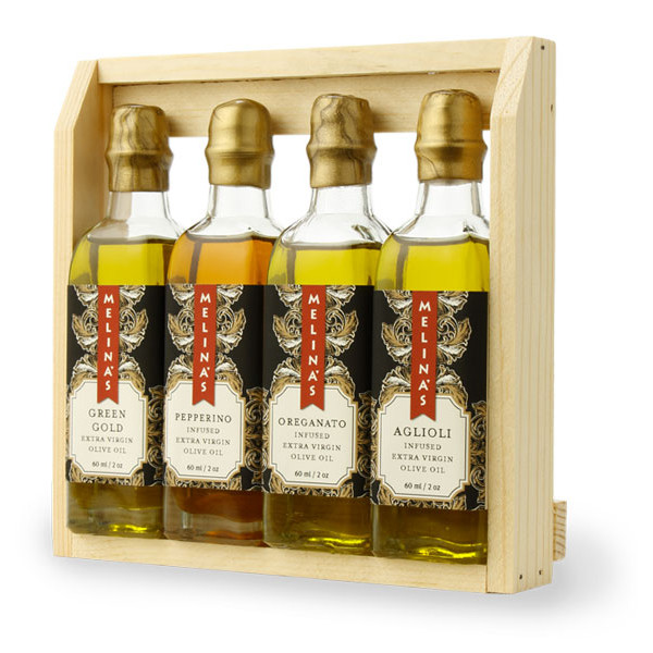 Mediterranean Extra Virgin Olive Oil Wooden Gift Box Set