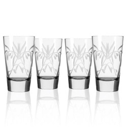 Etched Olive Branch Cooler Glasses (set of 4)