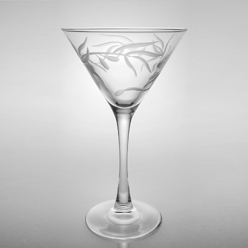Etched Olive Branch Martini Glasses (set of 4)