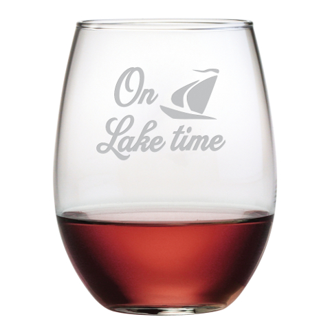 On Lake Time Stemless Wine Glasses (set of 4)