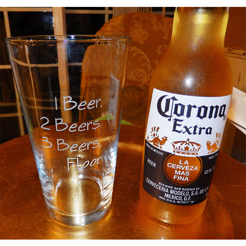 One Beer Two Beer Novelty Pint Glasses (set of 4)