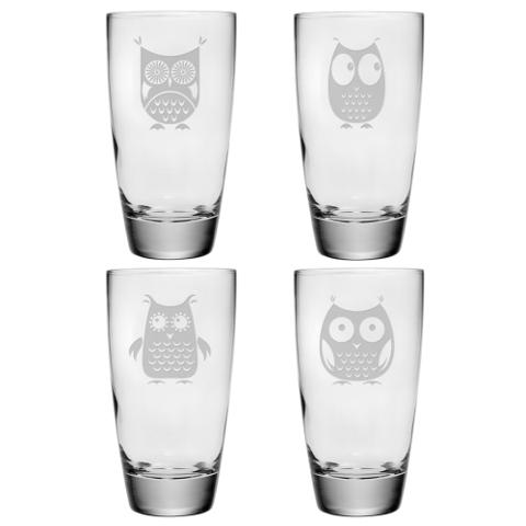 Assorted Owls Classic Cooler Glasses (set of 4)