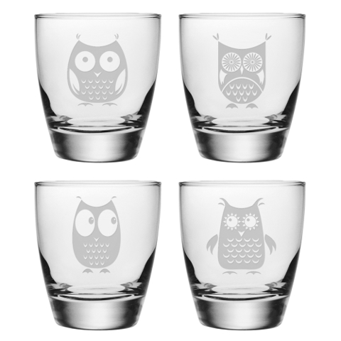 Assorted Owls DOF Glasses (set of 4)