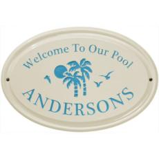 Palm Tree Ceramic Oval Welcome To Our Pool Plaque