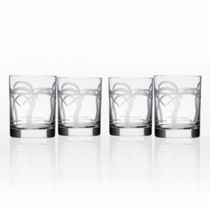 Palm Tree On The Rocks Glasses (set of 4)