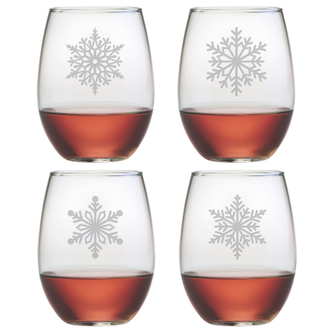 Paper Snowflakes Stemless Wine Glasses (set of 4)