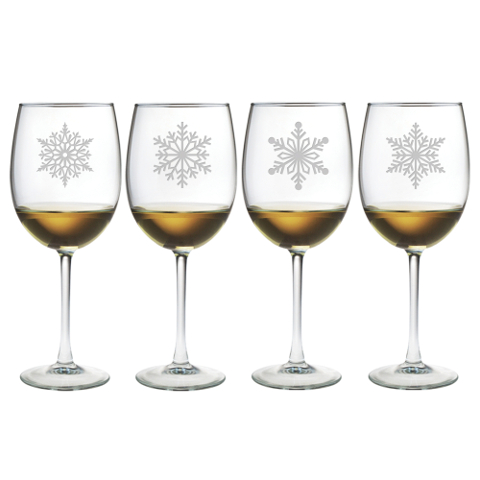 Paper Snowflakes Stemmed Wine Glasses (set of 4)