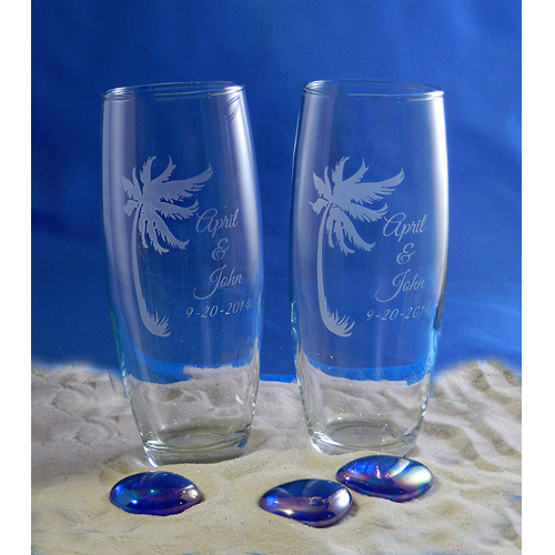 Personalized Paradise Perfection Stemless Toasting Flutes (set of 2)