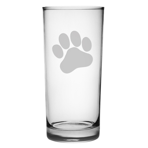 Paw Print Highball Glasses (set of 4)