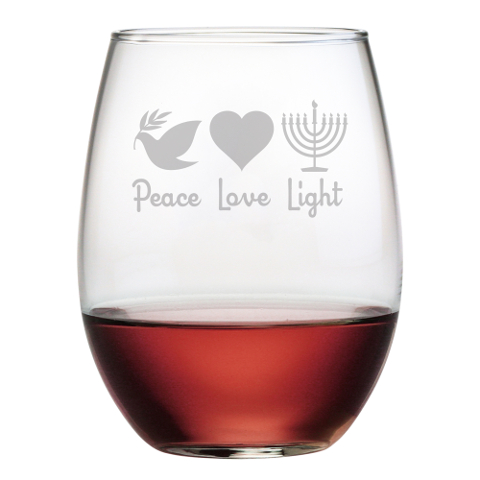 Peace Love Light Stemless Wine Glasses (set of 4)