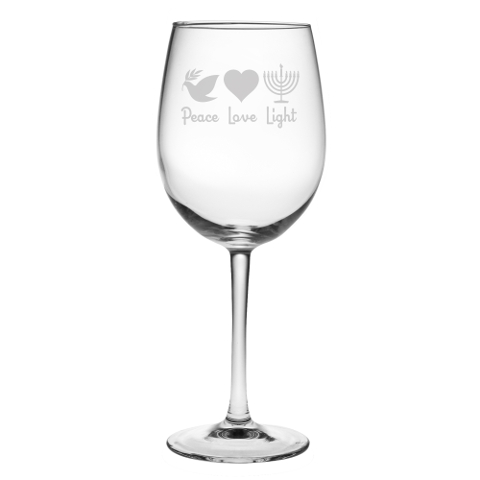 Peace Love Light Stemmed Wine Glasses (set of 4)