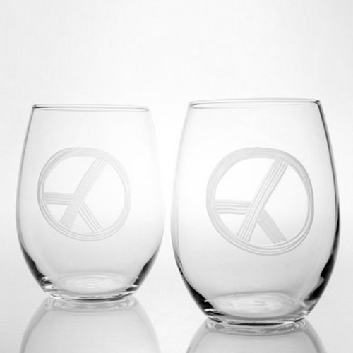 Engraved Peace Sign Stemless Red Wine Tumblers (set of 4)