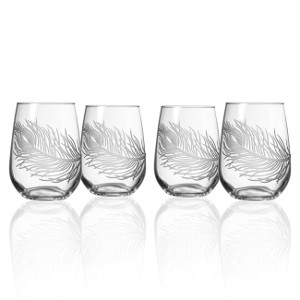 Etched Glass Peacock Feather Stemless Wine Glasses (set of 4)