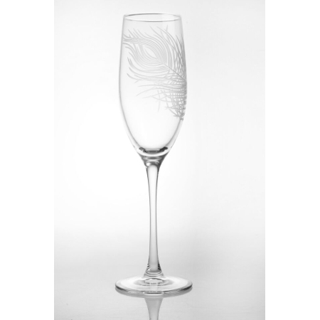 Etched Glass Peacock Feather Champagne Flutes (set of 4)