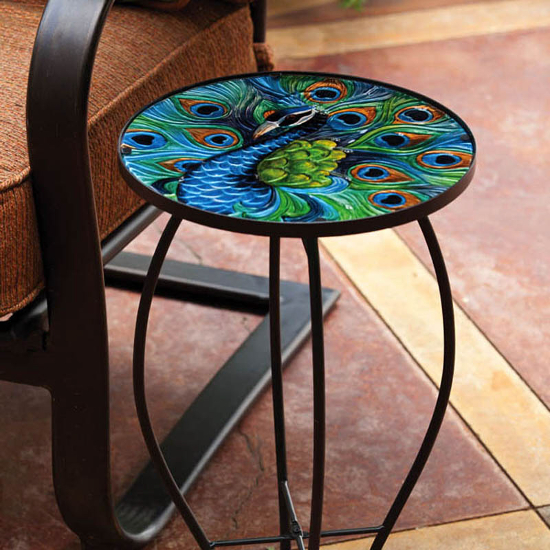 Peacock Glass Round Side Table