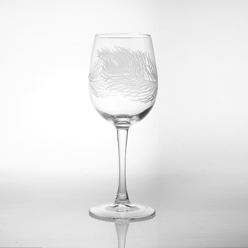 Etched Glass Peacock Feather Tulip Wine Glasses (set of 4)