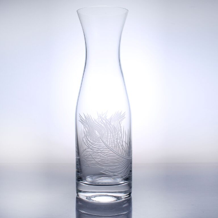 Etched Glass Peacock Feather Wine Carafe