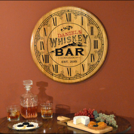 Personalized Whiskey Bar Barrel Head Clock