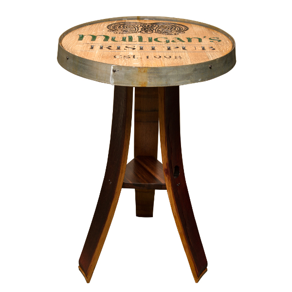 Personalized Whiskey Barrel Head Pub Table