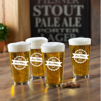 Personalized Bottle Top Pub Pint Glasses (set of 4)