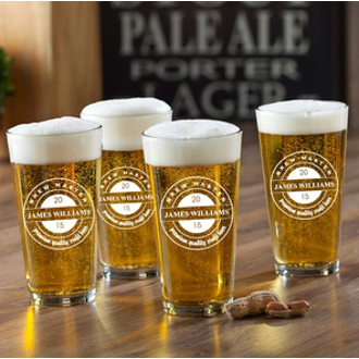 Personalized Brew Master Pub Pint Glasses (set of 4)