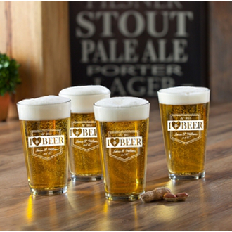 Personalized I Love Beer Pub Pint Glasses (set of 4)