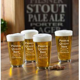 Personalized Premium Quality Brew Pub Pint Glasses (set of 4)