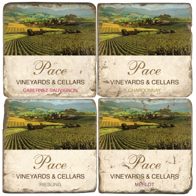 Personalized Italian Marble Coasters Vineyards and Cellars