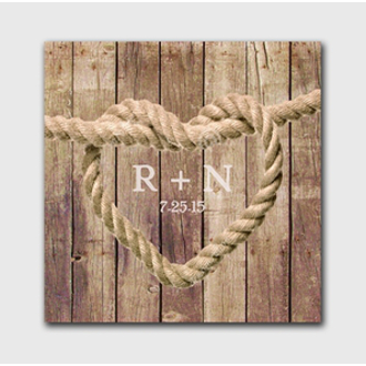 Personalized Wedding Knot Canvas Sign - Brown