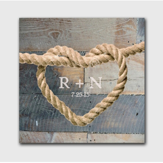 Personalized Wedding Knot Canvas Sign - Blue