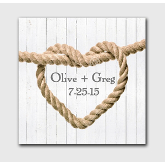 Personalized Wedding Knot Canvas Sign - White