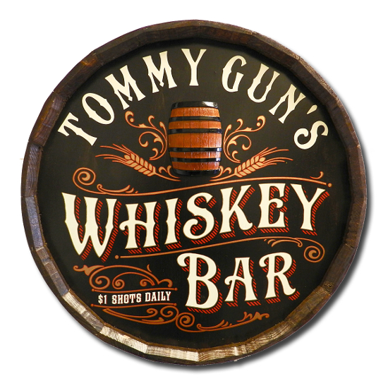 Personalized Whiskey Bar Quarter Barrel Sign