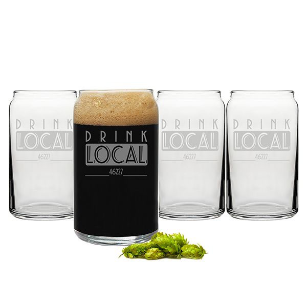 Personalized Drink Local Craft Beer Can Glasses (Set of 4)