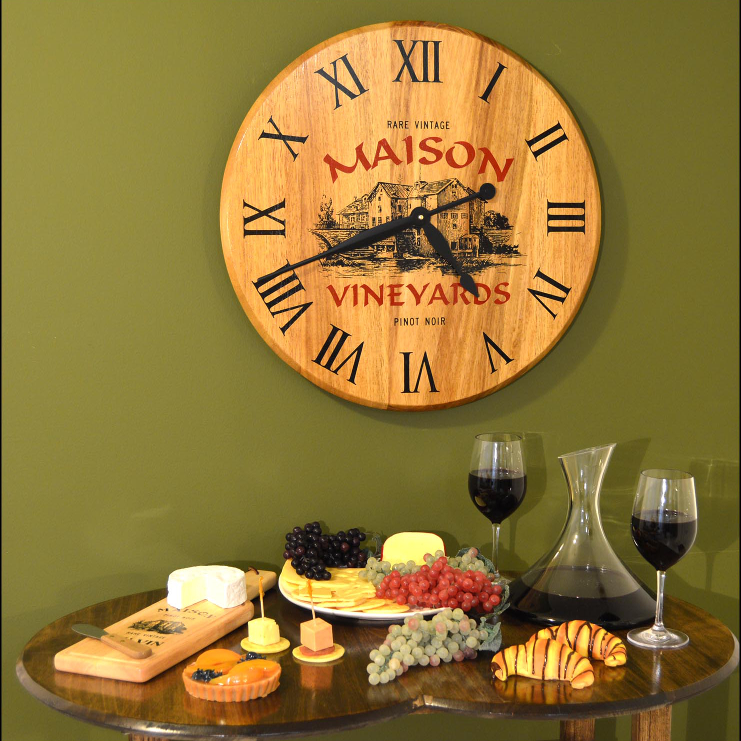Personalized Wine Barrel Head Clock