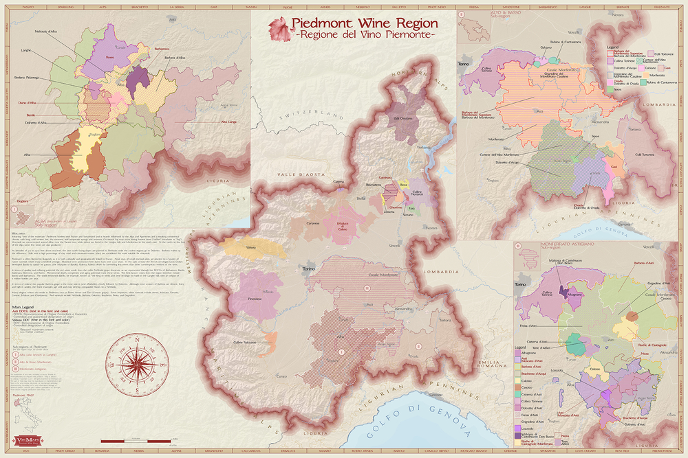 Wine Regions Map of Piedmont