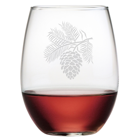 Pine Cone Stemless Wine Glasses (set of 4)