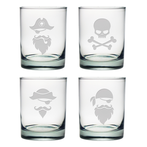 Pirate Faces DOF Whiskey Glasses (set of 4)