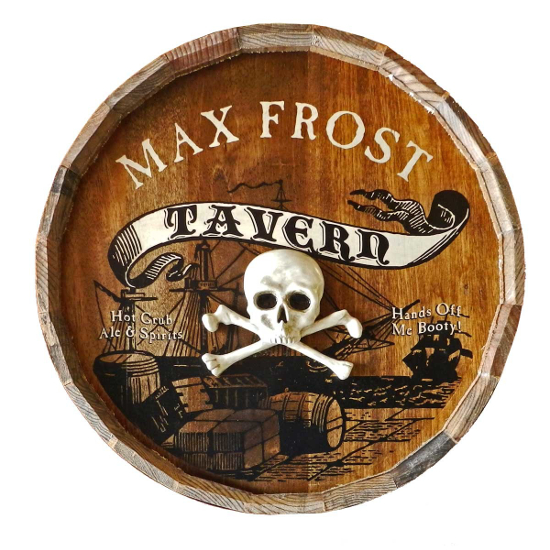 Pirate Tavern Personalized Quarter Barrel Sign