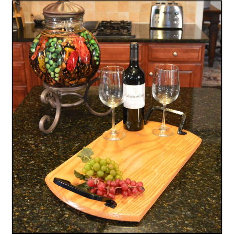Customizable Wooden Bistro Tray with Wrought Iron Handles